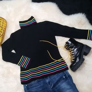 Black Fitted Turtleneck with Embroidery Stripes